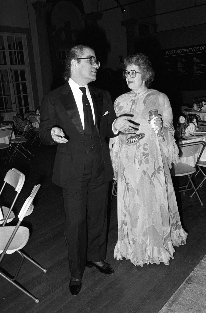 Fashion designer Karl Lagerfeld and Judith Leiber attend the 34th presentation of the Neiman-Marcus Awards at the Grove Isle Club, in Coral Gables, Florida, 1980.