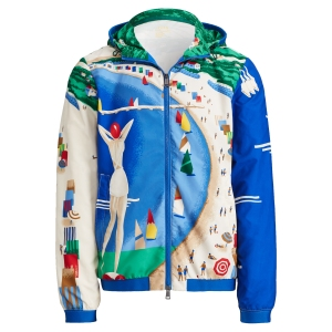 A jacket is emblazoned with colorful graphics.