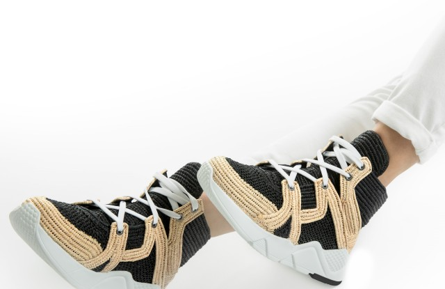 The exclusive Clergerie raffia sneaker.