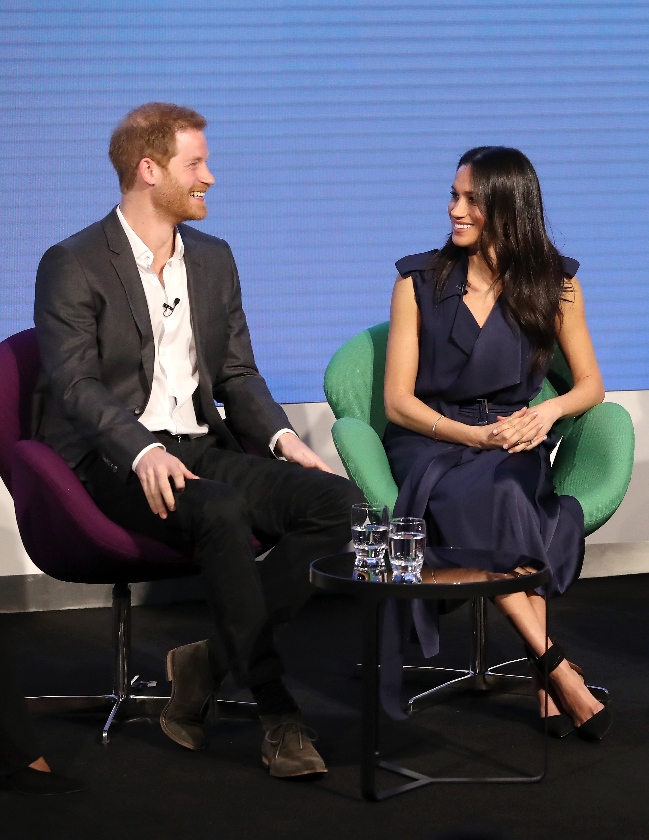 Prince Harry and Meghan MarkleFirst Annual Royal Foundation Forum, London, UK - 28 Feb 2018Under the theme 'Making a Difference Together', the event will showcase the programmes run or initiated by The Royal Foundation. WEARING JASON WU DRESS SHOES BY AQUAZURRA