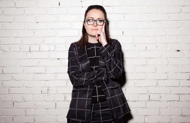 Emma McIroy wearing a Wildfang suit.