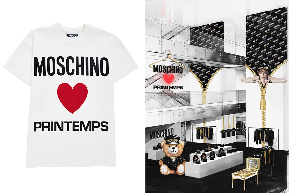 """Left :A """"Moschino Loves Printemps"""" T-shirt. Right: A rendering of the Moschino pop-up at Printemps."""