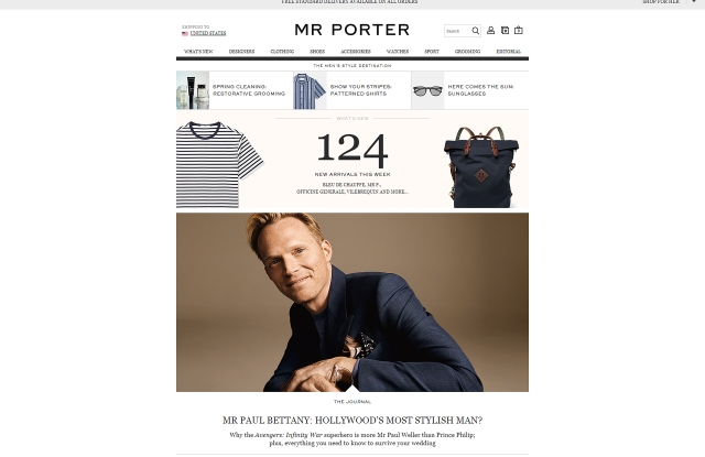 The Mr Porter homepage.