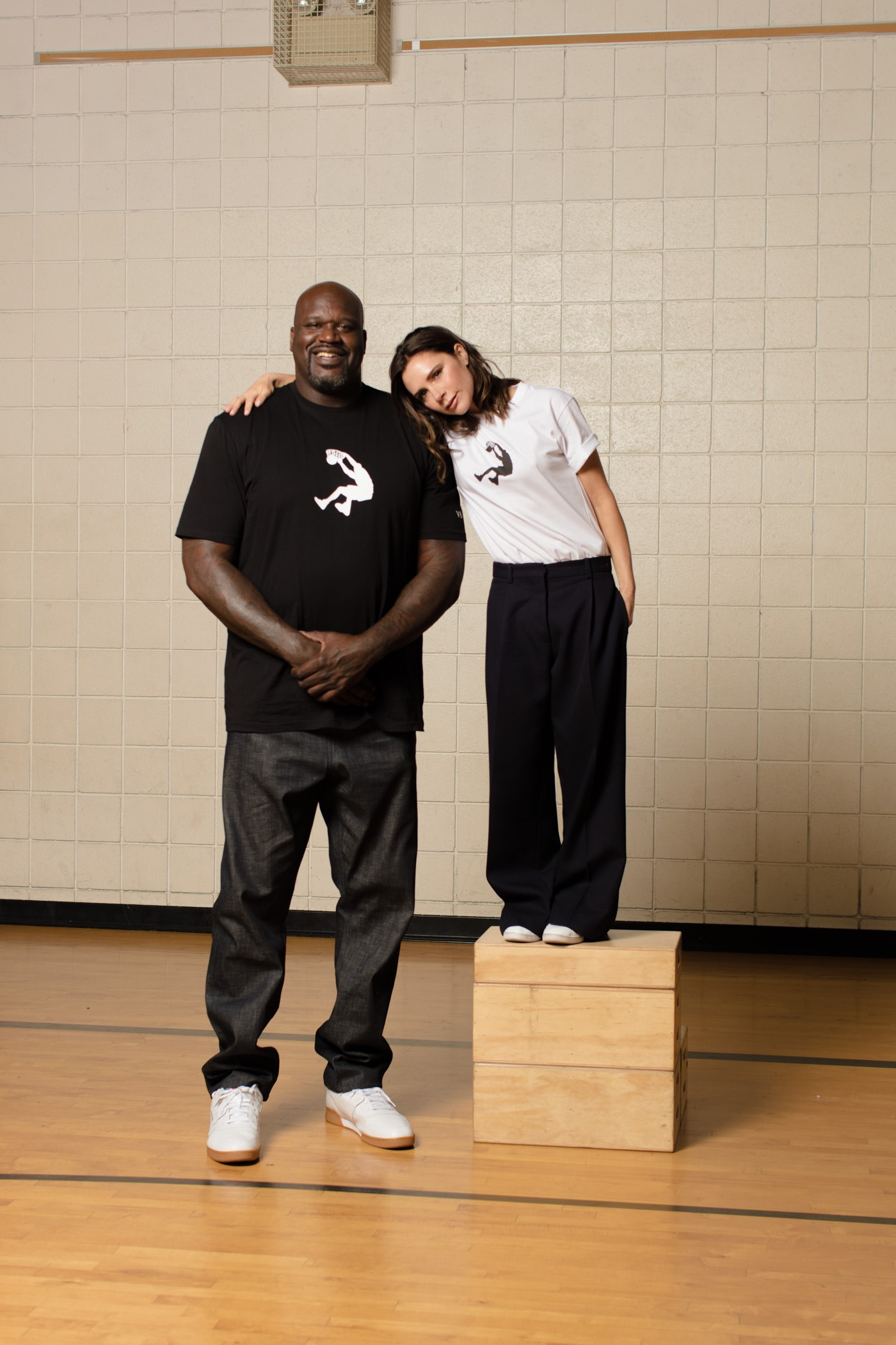 Shaquille O'Neal and Victoria Beckham at the Reebok event in Los Angeles