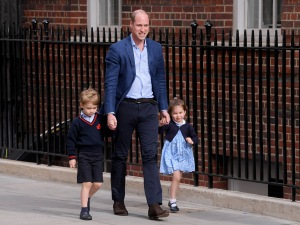 Prince William returning to the Lindo Wing with Prince George and Princess Charlotte as they enter to meet their brother for the first timeCatherine Duchess of Cambridge gives birth to her third child, Lindo Wing, St Mary's Hospital, London, UK - 23 Apr 2018