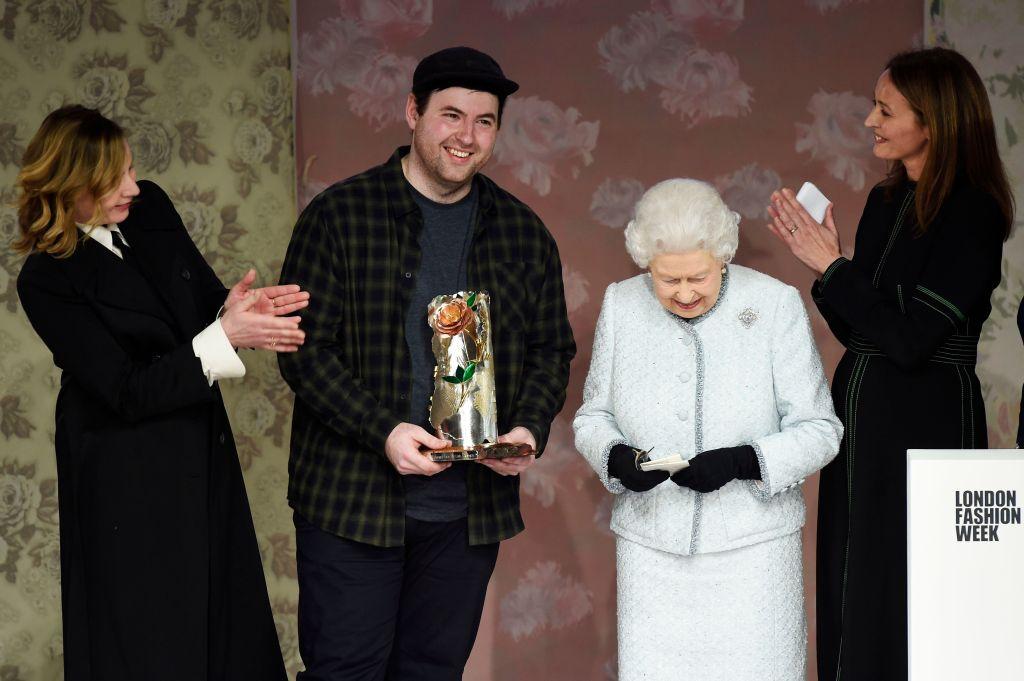 Queen Elizabeth II and Richard QuinnRichard Quinn show, Fall Winter 2018, London Fashion Week, UK - 20 Feb 2018