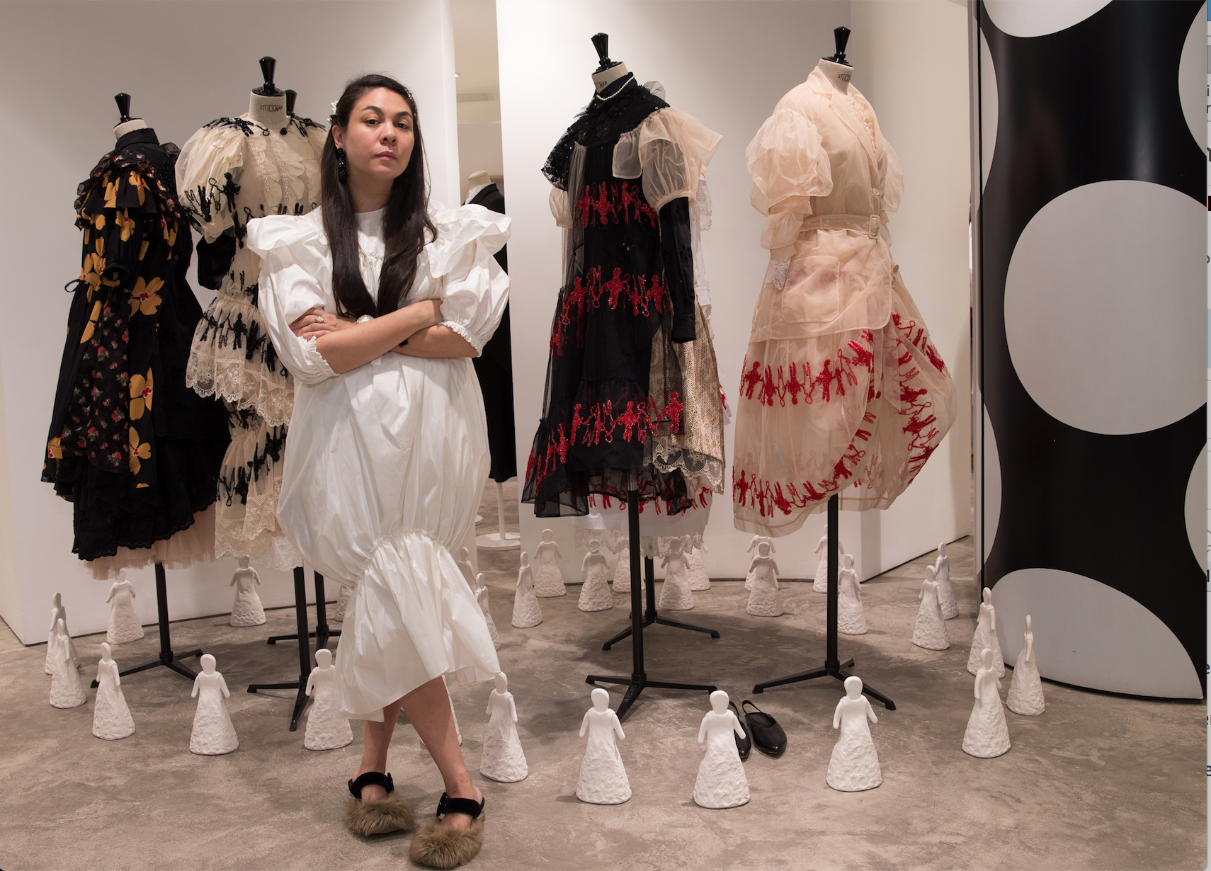 Designer Simone Rocha standing in front of her installation at the opening of the Dover Street Market in Beijing.