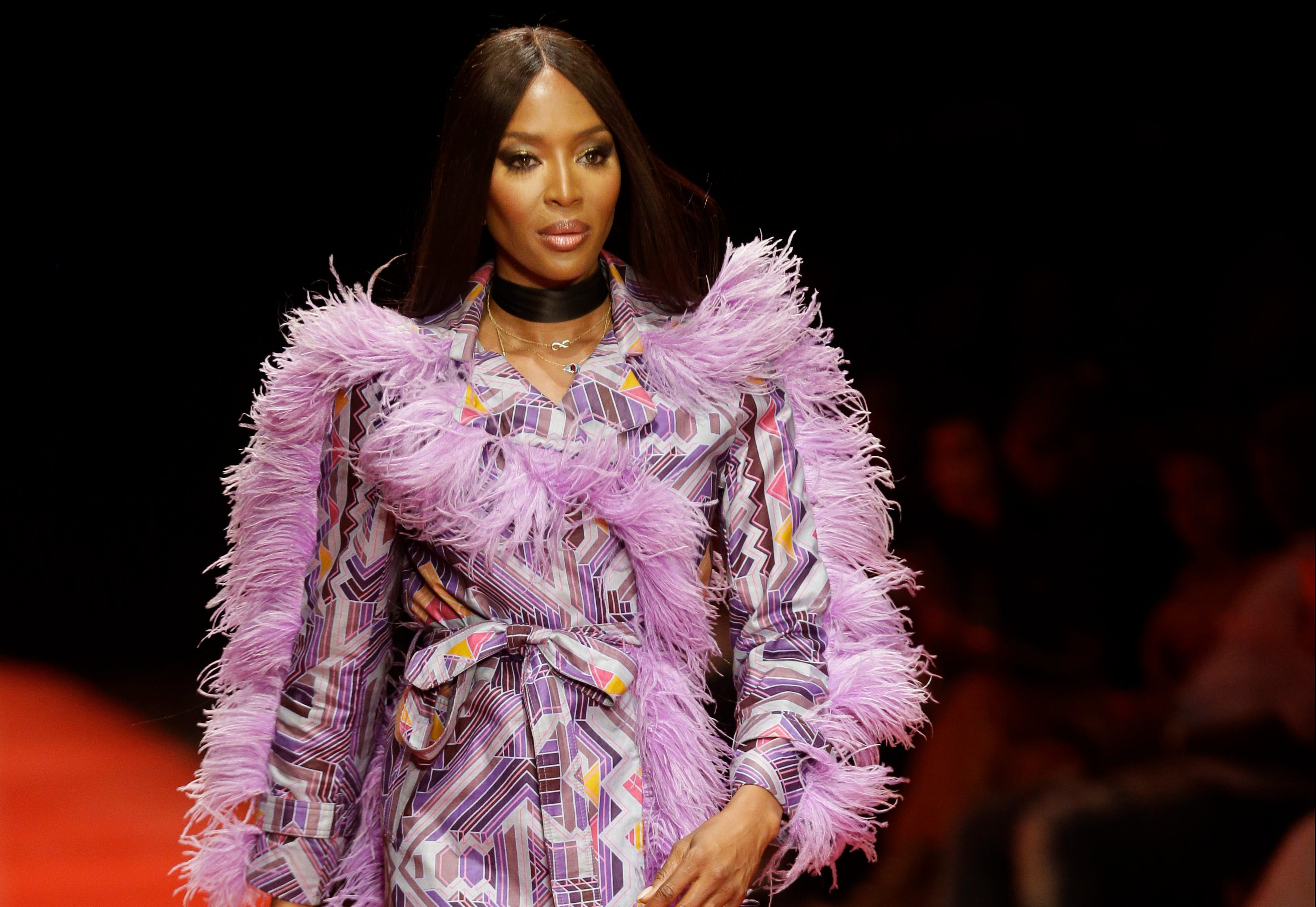 British supermodel Naomi Campbell displays an outfit by South African designer Kluk CGDT during the ARISE Fashion Week event in Lagos, NigeriaFashion, Lagos, Nigeria - 31 Mar 2018