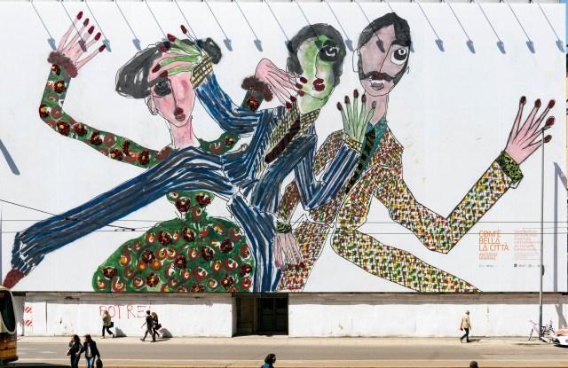 Antonio Marras' artwork on the facade on Milan's Teatro Lirico