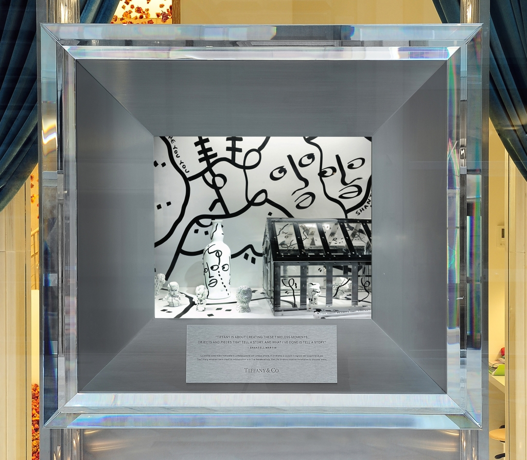 Shantell Martin's installation showcased in Tiffany & Co.'s store window in Milan.
