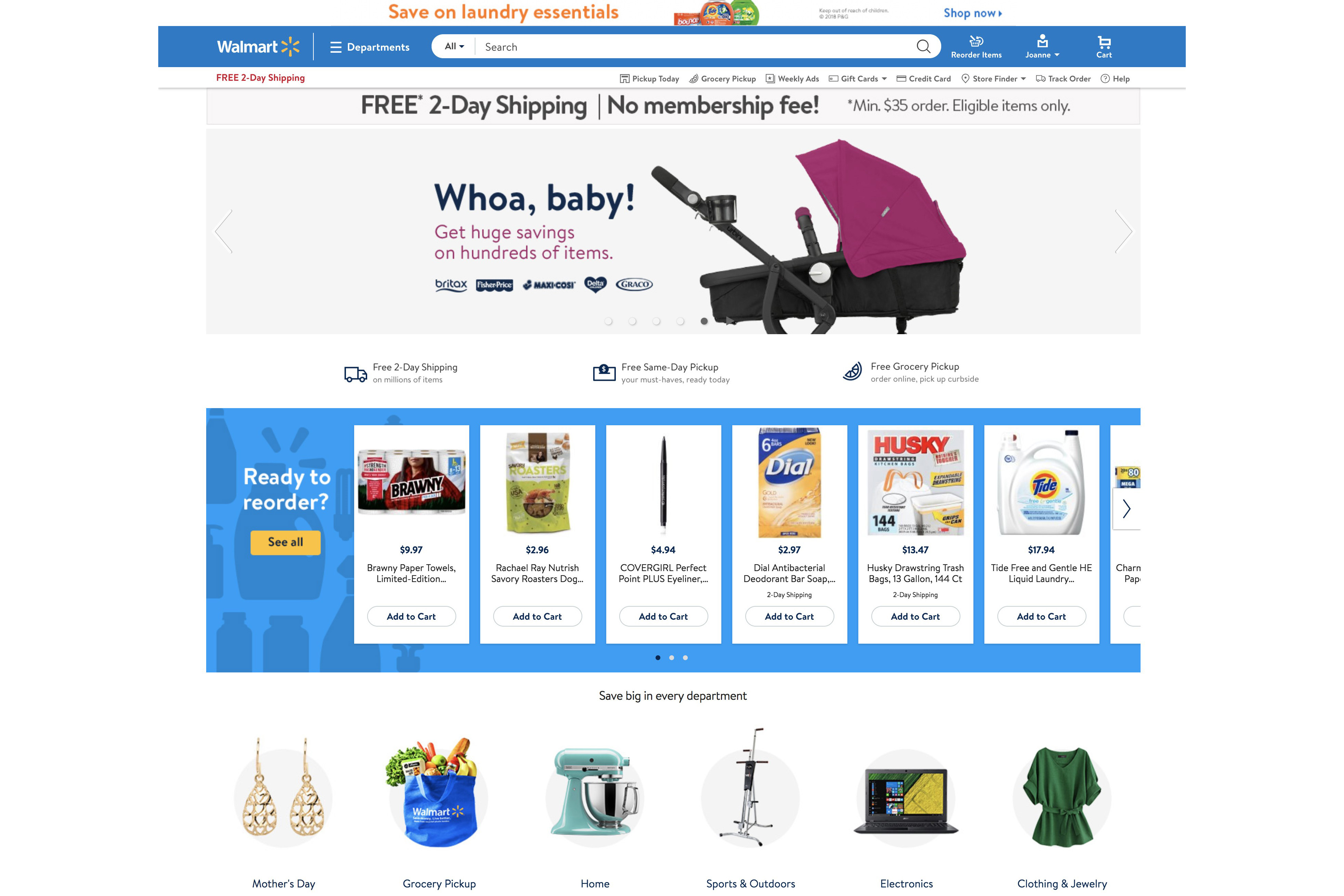 The Walmart website before the redesign.