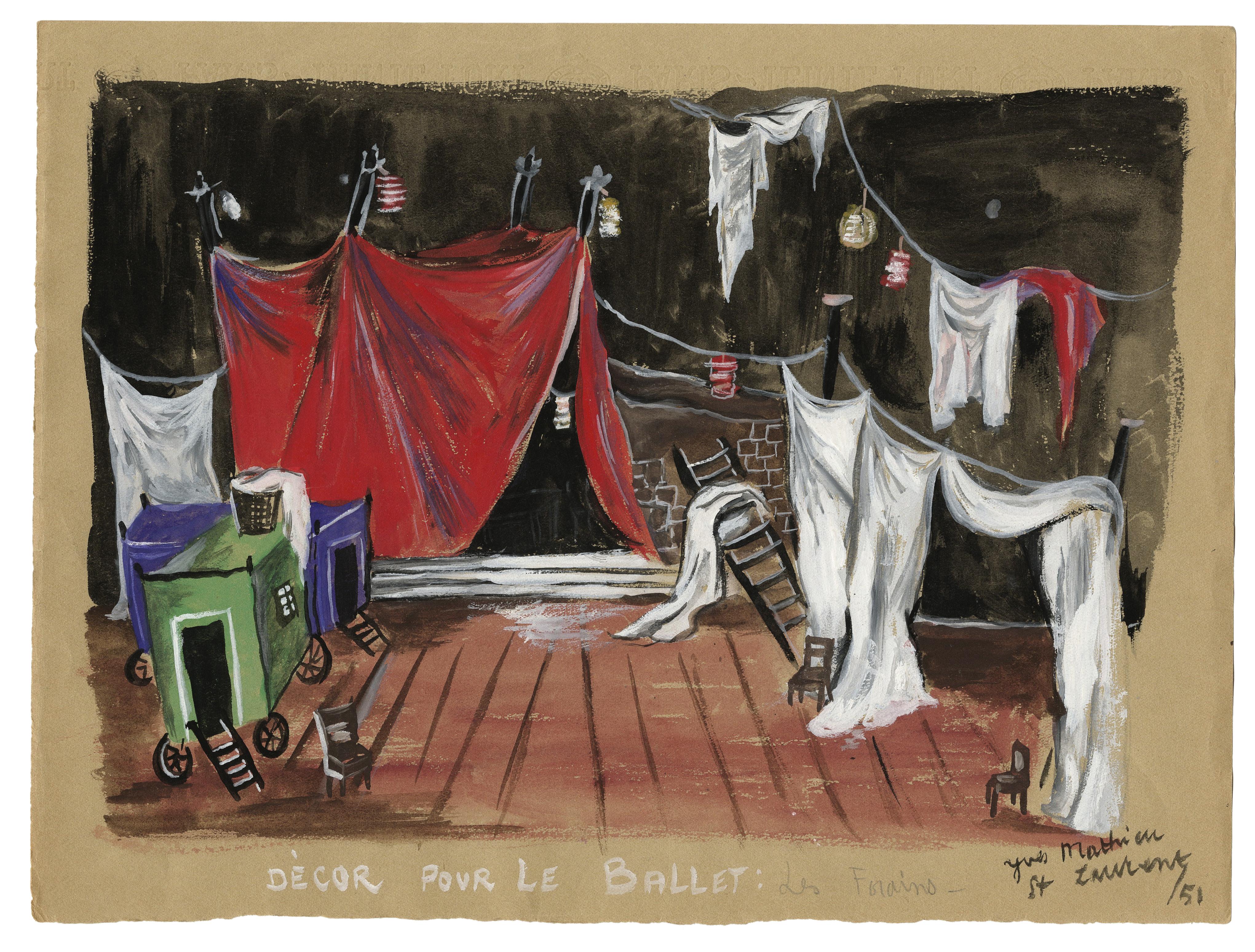 """Yves Saint Laurent's 1951 set design for Henri Sauguet's ballet """"Les Forains."""""""