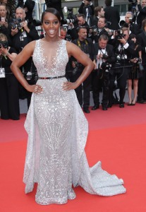 Aja Naomi King wearing Zuhair Murad at the 'Sorry Angel' premiere at the 71st Cannes Film Festival