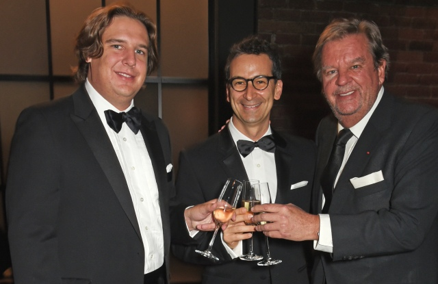 GENEVA, SWITZERLAND - JANUARY 16:  (L to R) Anton Rupert Jr, Federico Marchetti and Johann Rupert attend the IWC Schaffhausen Gala celebrating the Maison's 150th anniversary and the launch of its Jubilee Collection at the Salon International de la Haute Horlogerie (SIHH) on January 16, 2018 in Geneva, Switzerland. #IWC150  (Photo by David M. Benett/Dave Benett/Getty Images for IWC)