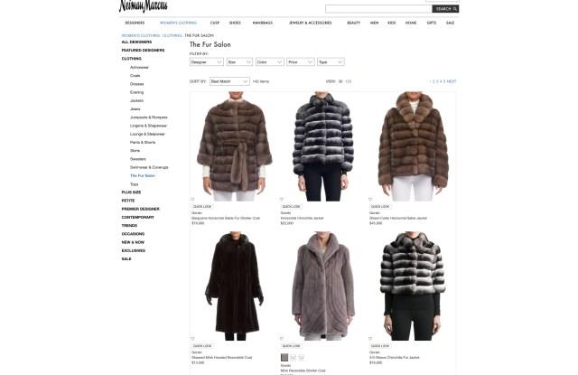 """The """"Fur Salon"""" on the Neiman Marcus web site."""