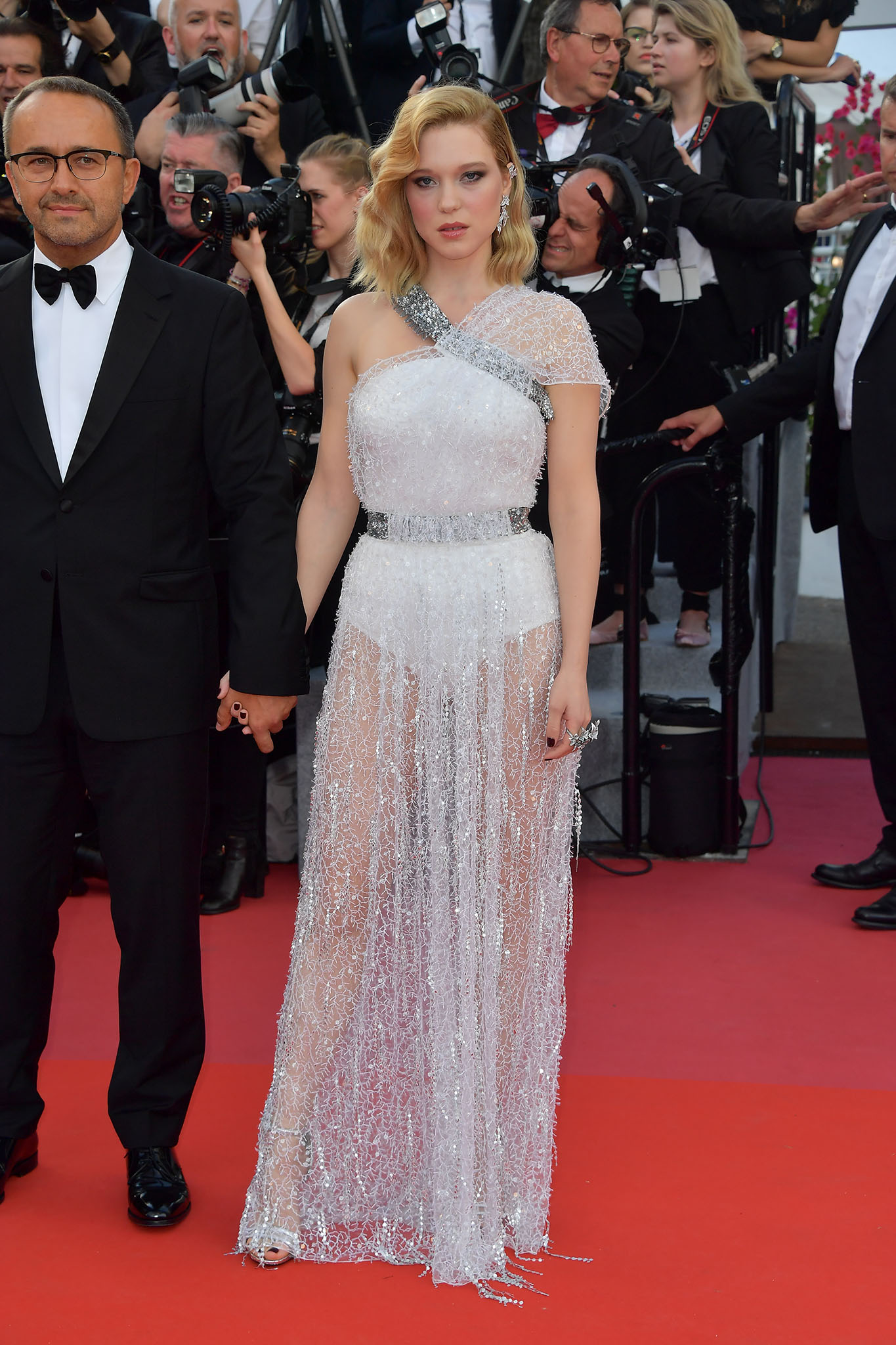 Jury member Léa Seydoux in a custom-made silk dress embroidered with crystals and beads by Louis Vuitton.