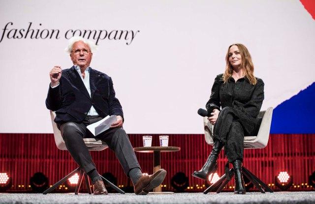 Stella McCartney speaks to Graydon Carter at the Copenhagen Fashion Summit in 2018