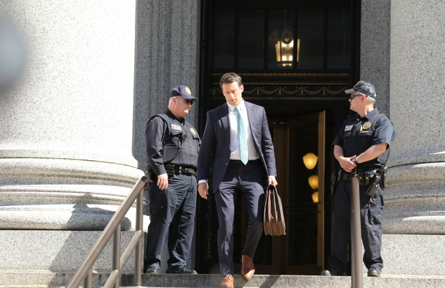 Alex Spiro, Jay Z's attorney, leaving the courthouse at 40 Foley Square.