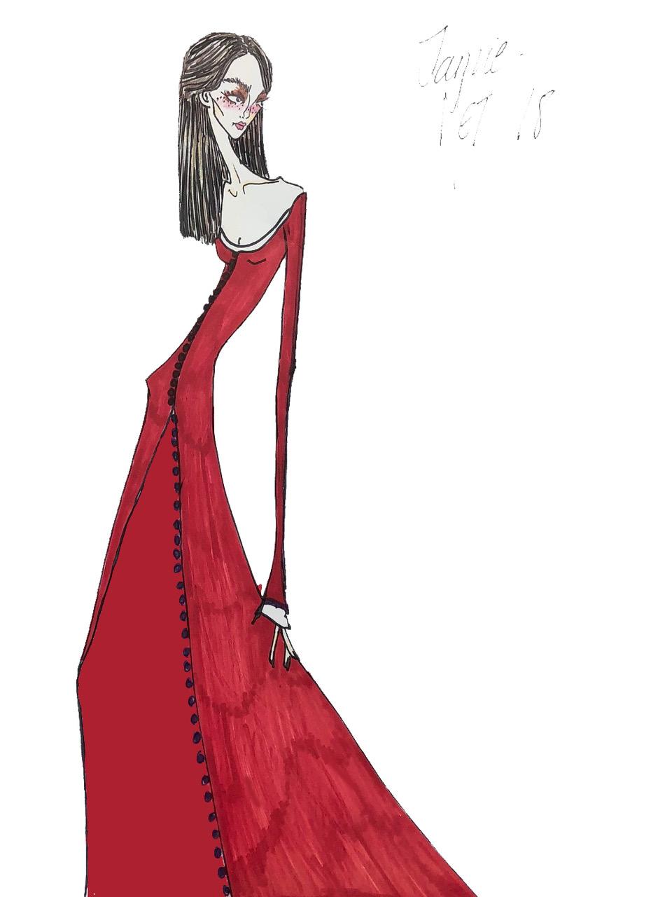 A sketch of Juicy Couture creative director Jamie Mizrahi's Met Gala gown.