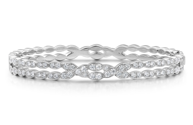 Lorelei Floral Diamond Double twist bangle