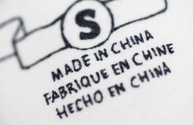 A Made in China label.