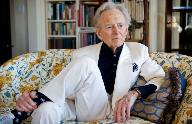 """Tom Wolfe American author and journalist Tom Wolfe, Jr. appears in his living room during an interview about his latest book, """"The Kingdom of Speech,"""" in New YorkTom Wolfe photo shoot, New York, USA - 26 Jul 2016"""