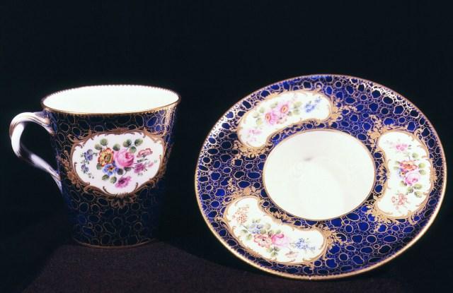 Trembleuse cup and saucer, soft-paste porcelain, 1761-77 Sèvres, FranceArt (Ceramics) - various Location: Musée National de Céramiques Sèvres