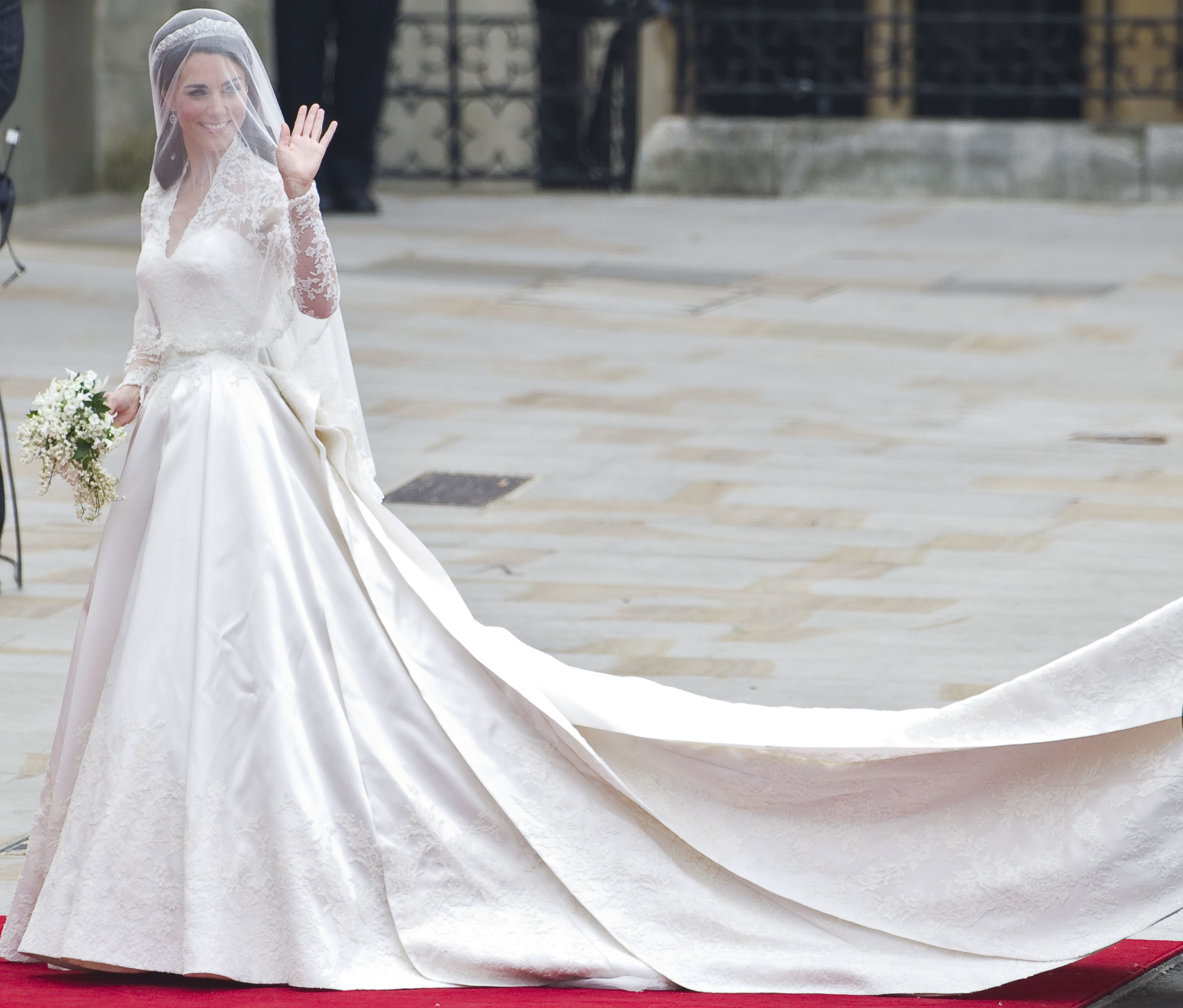Kate Middleton Arrives in Westminster Abbey London Britain 29 April 2011 For Her Wedding Ceremony Westminster Abbey Has a Long Tradition As a Venue For Royal Weddings Going Back to 1100 William's Grandparents Queen Elizabeth Ii and Prince Philip Duke of Edinburgh Got Married There on 20 November 1947 the Bride Wears a V-neck Alexander Mcqueen Gown Designed by Creative Director Sarah Burton and a 1936 Cartier Halo Tiara Lent to Her by Queen Elizabeth United Kingdom LondonBritain Royal Wedding - Apr 2011