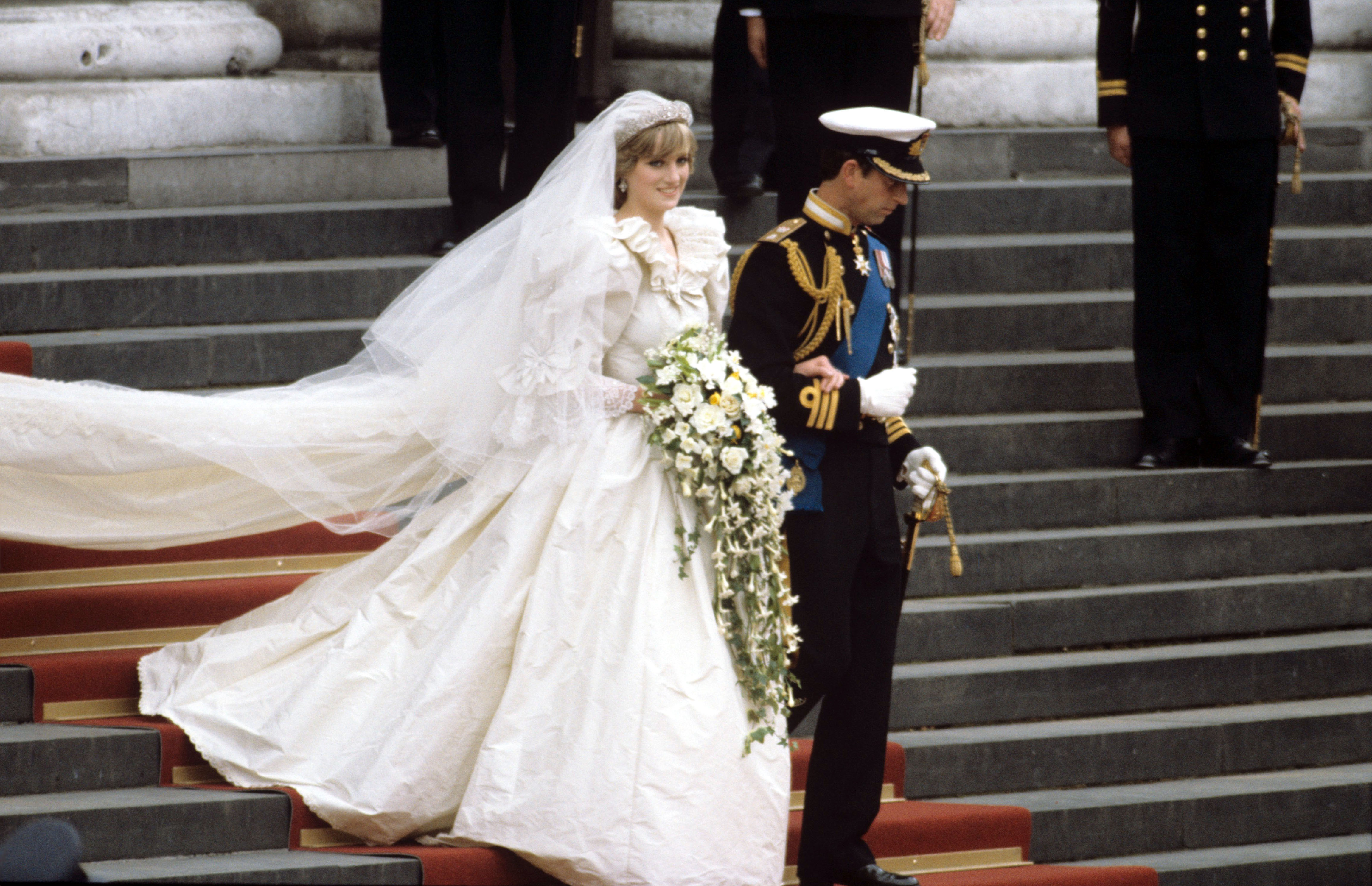 Princess Diana and Prince Charles walking down the steps of St. Pauls cathedralWedding of Prince Charles and Lady Diana Spencer, London, Britain - 29 Jul 1981