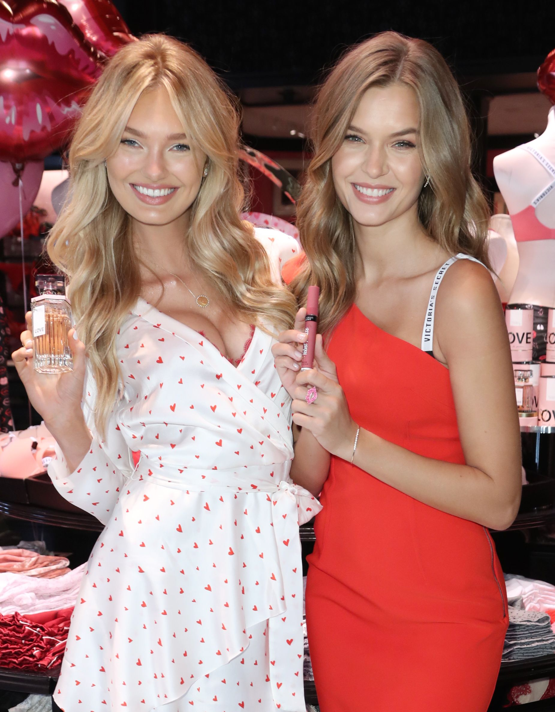 Romee Strijd and Josephine SkriverVictoria's Secret models at 3rd Street Promenade store, Los Angeles, USA - 06 Feb 2018