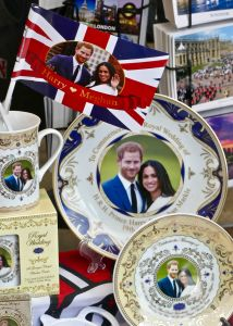 Royal Wedding memorabilia and displays in the shops surrounding Windsor CastlePreparations for the Royal Wedding, Windsor, UK - 25 Apr 2018