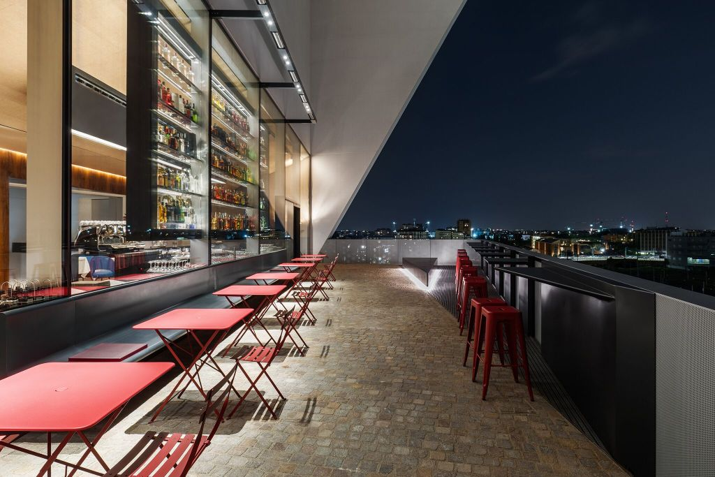 Fondazione Prada's Torre restaurant and panoramic terrace with rooftop bar.