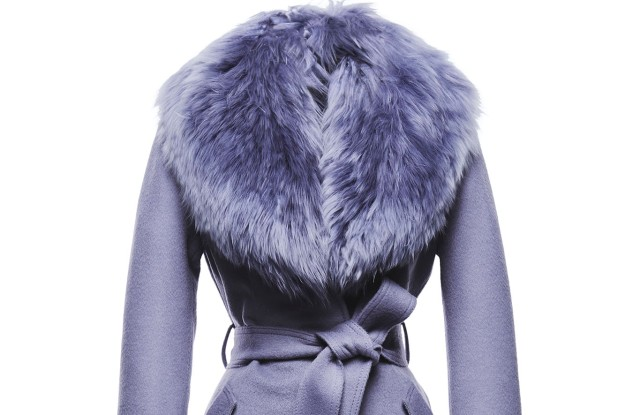 A Sentaler coat in lilac with fur collar.