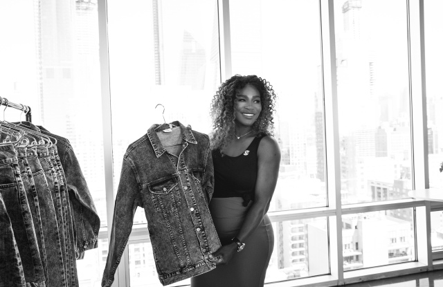 Serena Williams with clothes from her line.