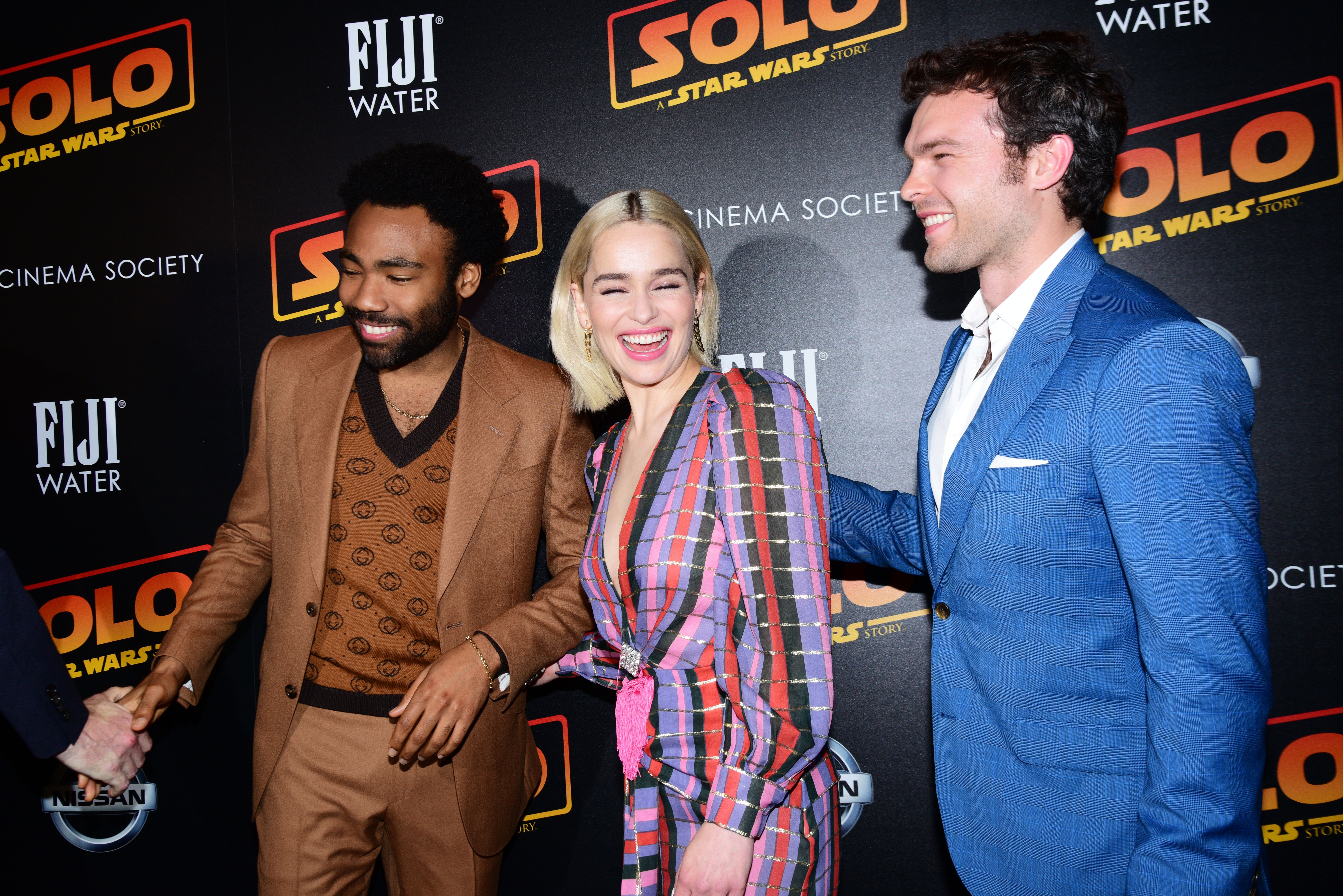 Donald Glover, Emilia Clarke and Alden Ehrenreich