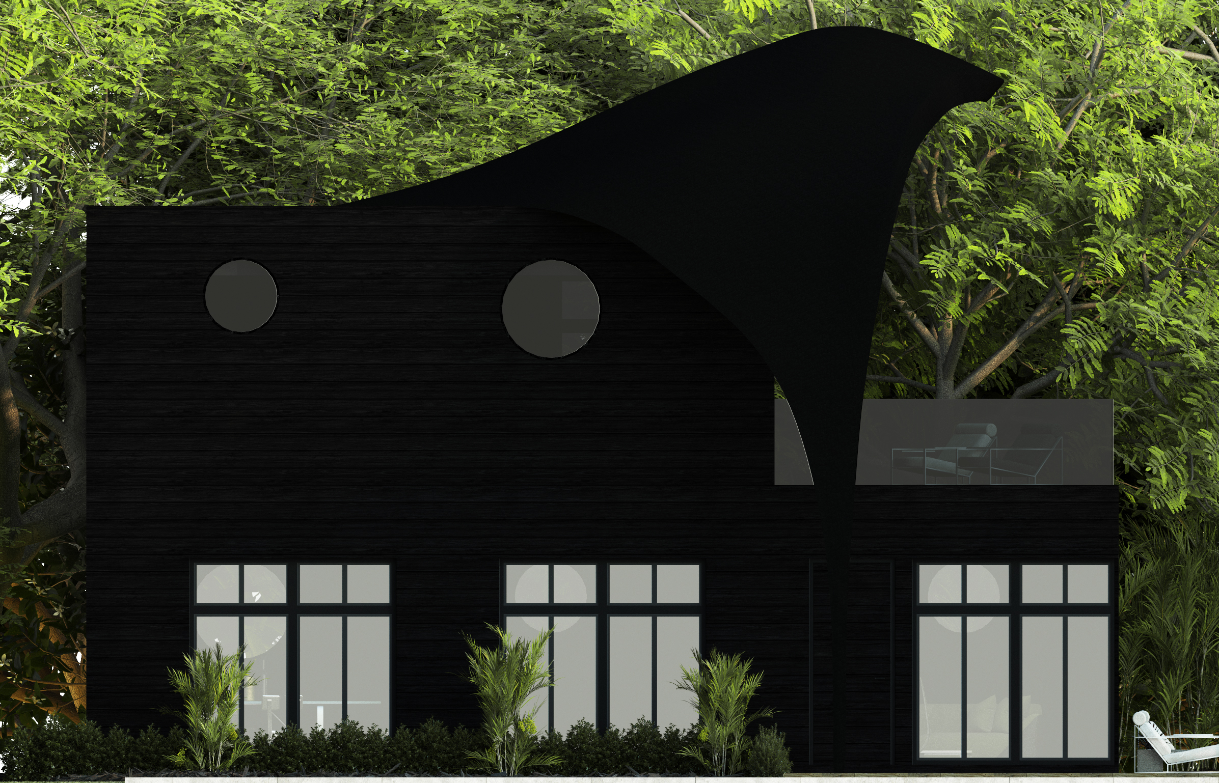 A rendering of the swallow-inspired cabin home designed by Camilla Staerk and Helena Christensen.