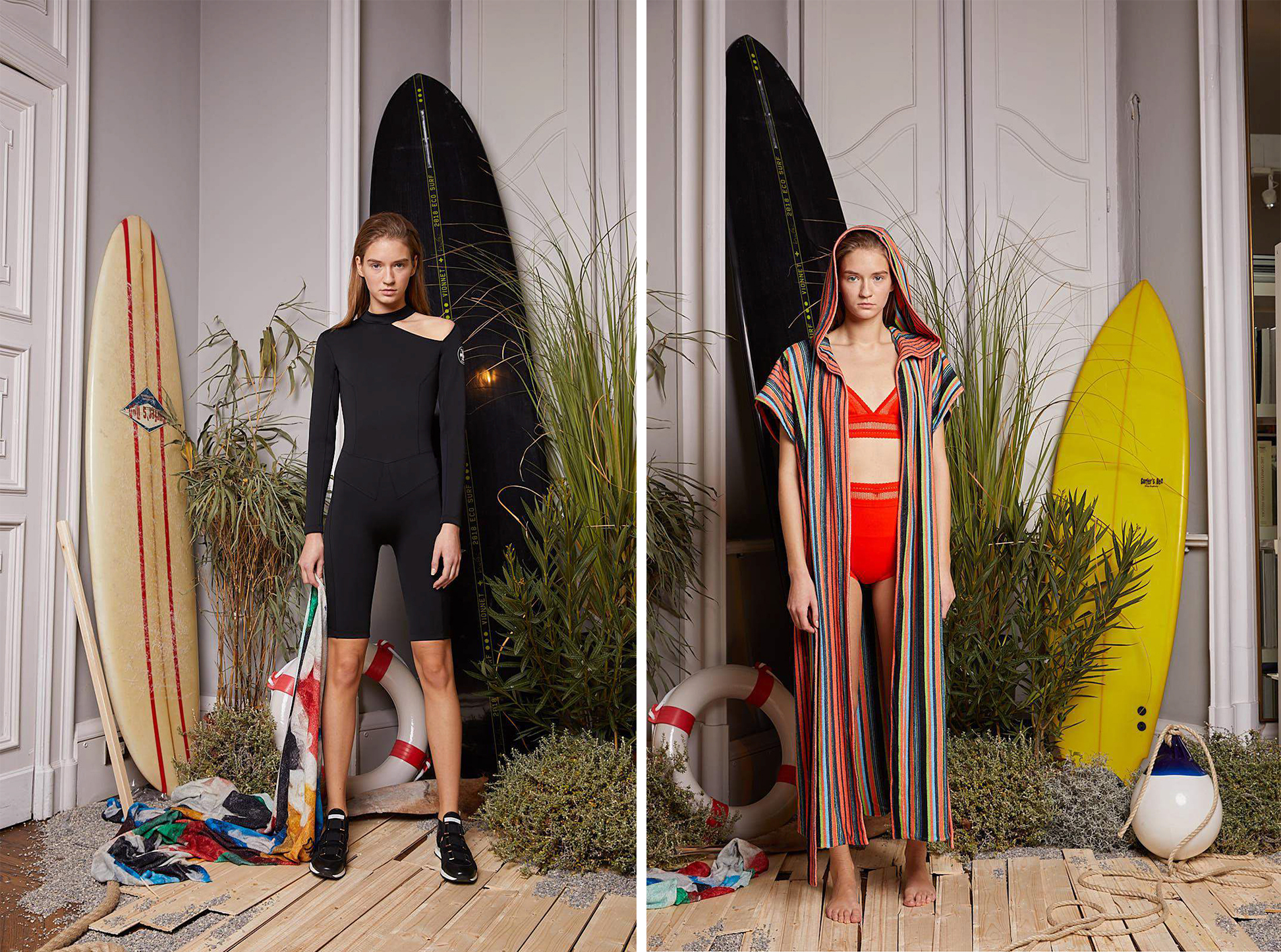 Looks from the Sustainable Surf collection by Vionnet x Marc Quinn