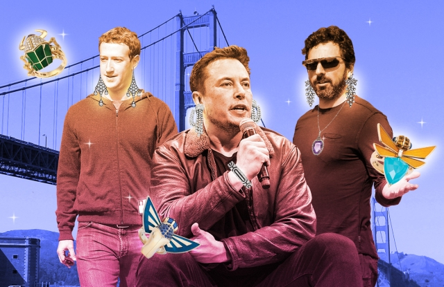 Mark Zuckerberg, Elon Musk and Sergey Brin in jewelry by Stephen Webster and Kentshire