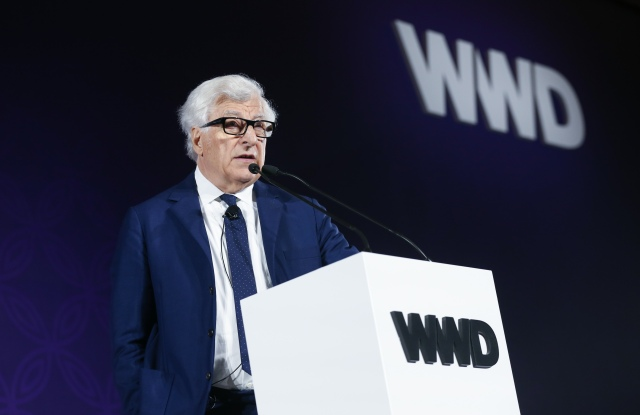 Prada ceo Patrizio Bertelli speaking at WWD's China summit in Xian.