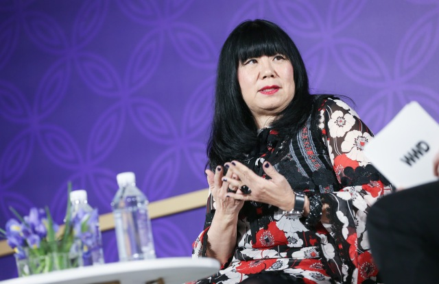 Anna Sui speaking at WWD's China summit in Xian.