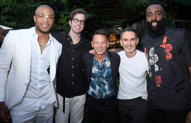 P. J. Tucker, Will Welch, Jim Nelson, Neil Barrett and James Harden attend the GQ Milan Cocktail Party during Milan Men's Fashion Week.