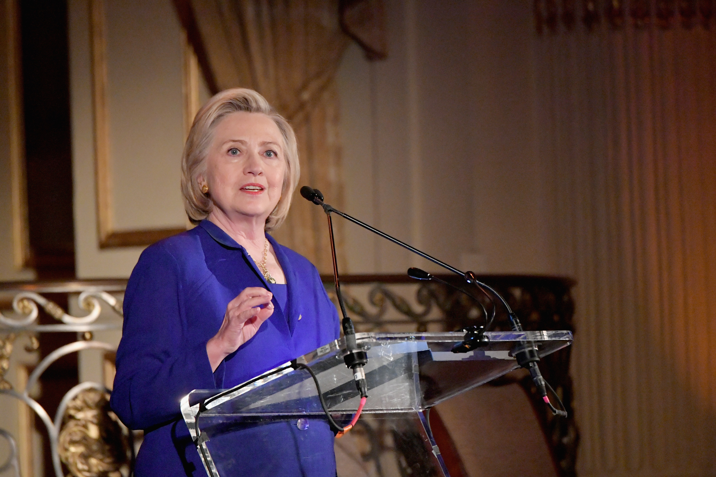 NEW YORK, NY - JUNE 18:  Former First Lady of the United States Hillary Clinton speaks onstage during the 8th Annual Elly Awards hosted by the Women's Forum of New York at The Plaza Hotel on June 18, 2018 in New York City.  (Photo by Mike Coppola/Getty Images for The Women's Forum of New York) *** Local Caption *** Hillary Clinton
