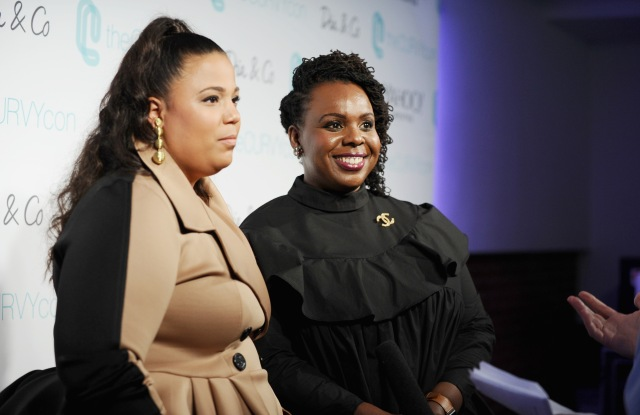 Co-founders of CURVYcon Chastity Garner Valentine (L) and CeCe Olisa speak during the Dia&Co fashion show and industry panel at the CURVYcon at Metropolitan Pavilion West on September 8, 2017 in New York City. (Photo by Daniel Zuchnik/Getty Images for Dia&Co,)