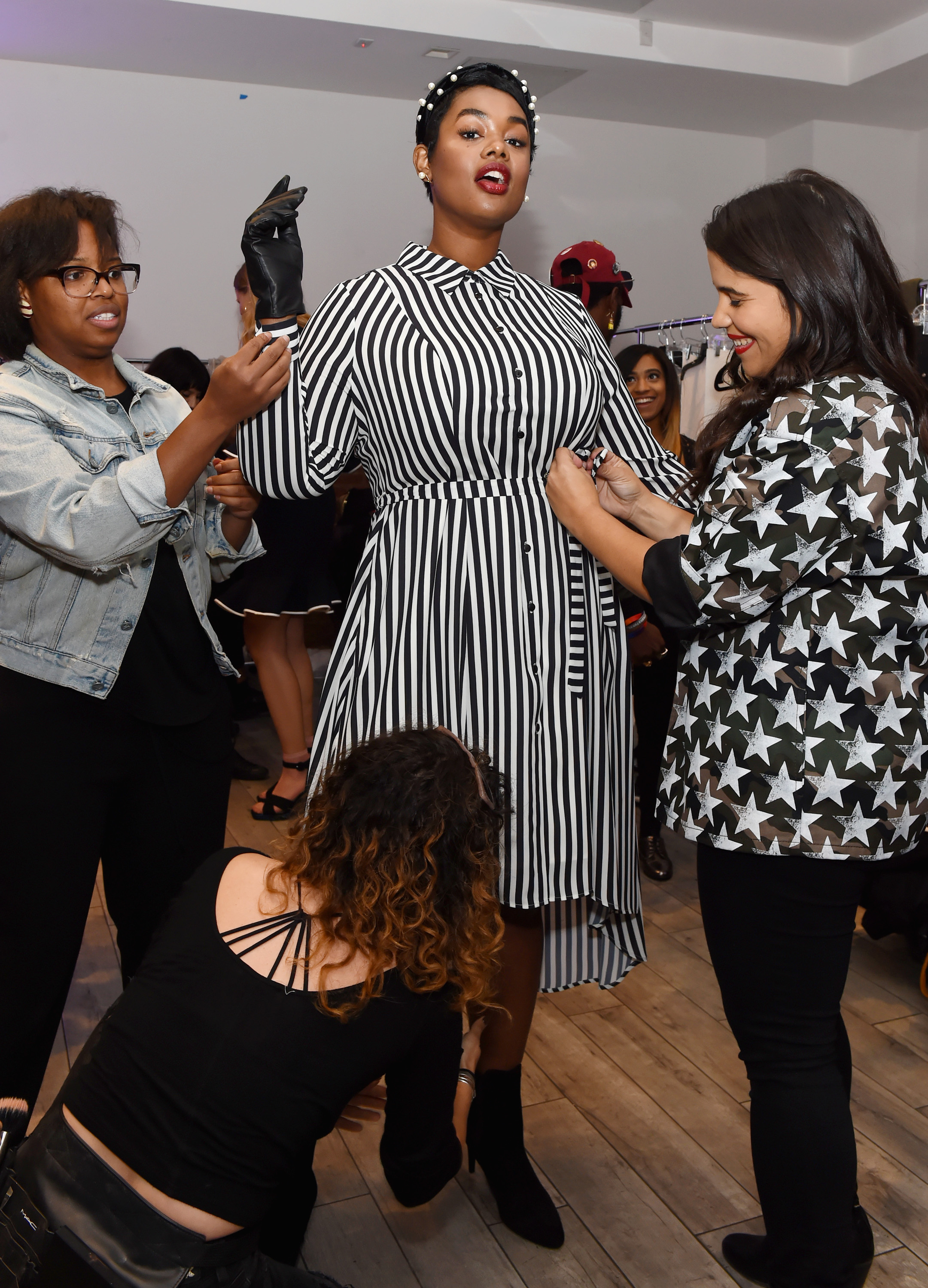 Model Precious Lee backstage during the Dia&Co fashion show and industry panel at the CURVYcon at Metropolitan Pavilion West on September 8, 2017 in New York City. (Photo by Daniel Zuchnik/Getty Images for Dia&Co,)