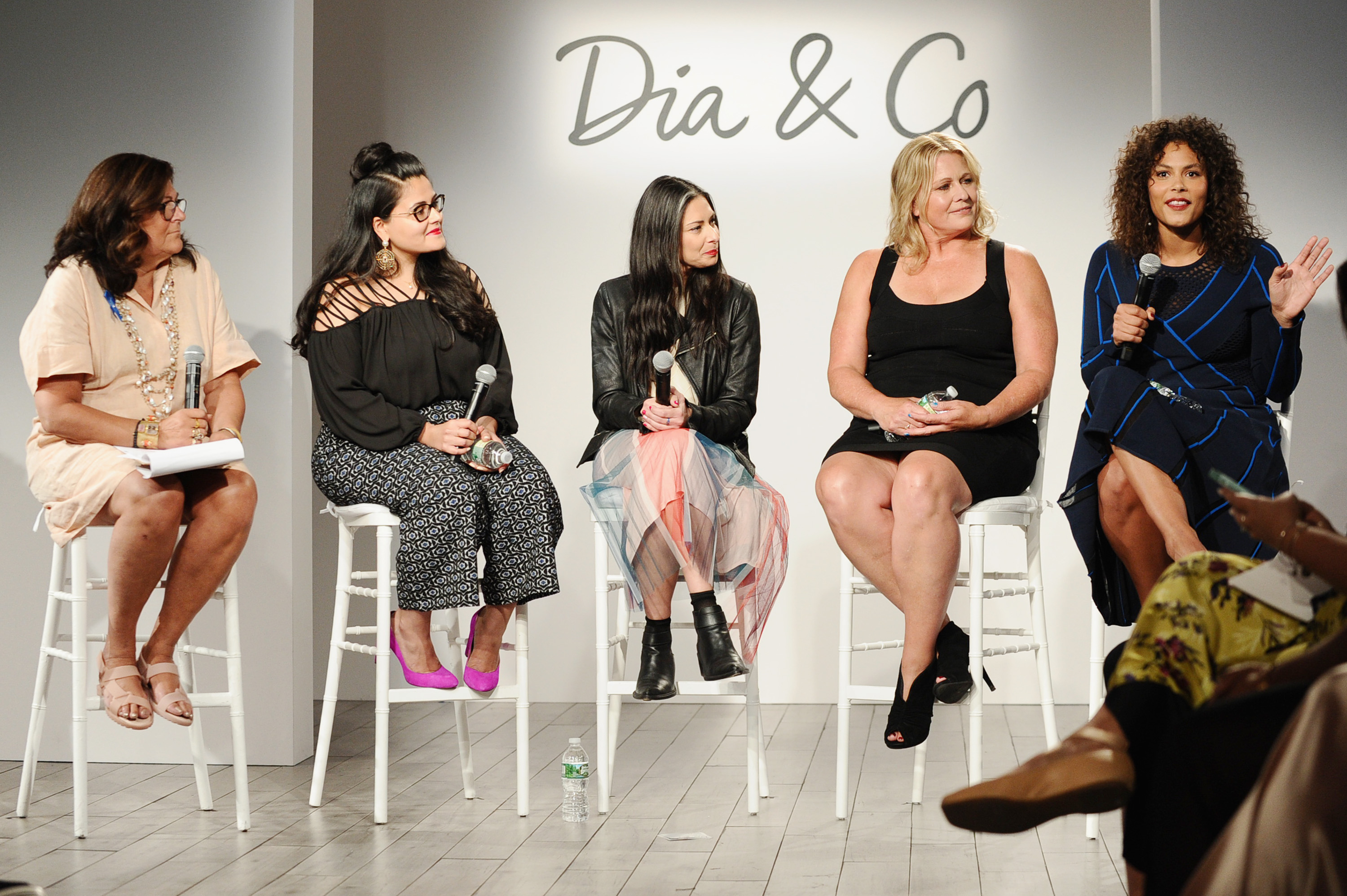 Fern Mallis, Nadia Boujarwah, Stacy London, Emme Aronson and Marquita Pring speak onstage during the Dia&Co fashion show and industry panel at the CURVYcon at Metropolitan Pavilion West on September 8, 2017 in New York City. (Photo by Daniel Zuchnik/Getty Images for Dia&Co,)