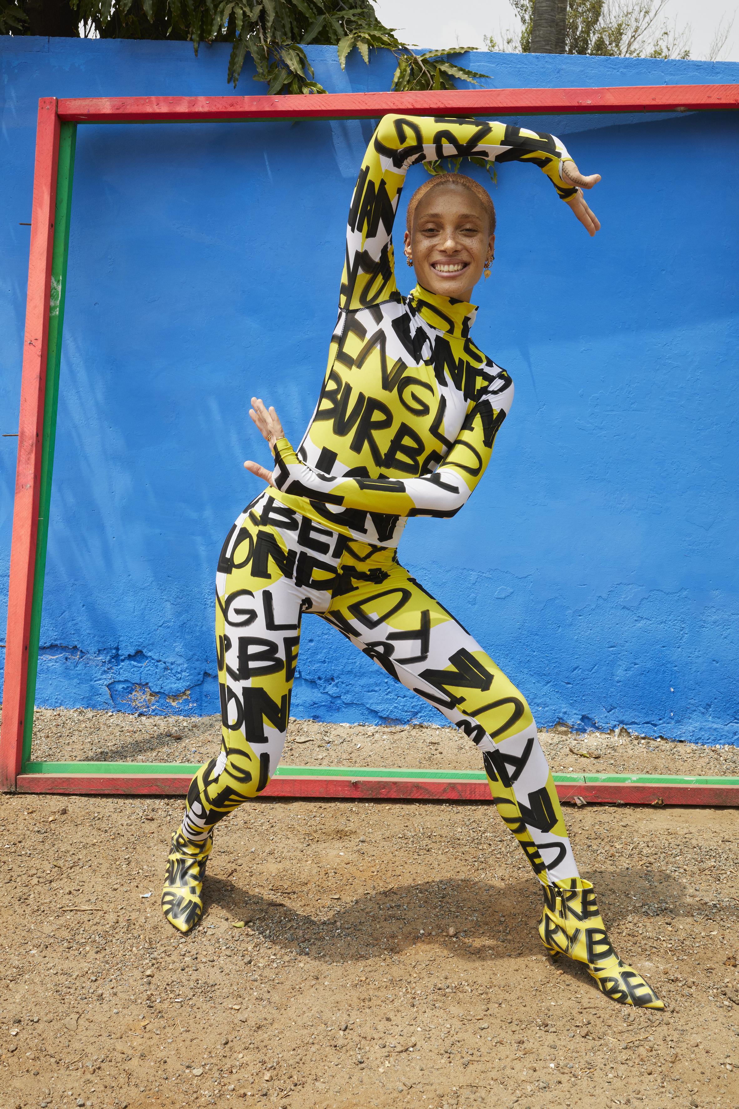 Adwoa Aboah in a graffiti-print bodysuit and leggings shot by Juergen Teller