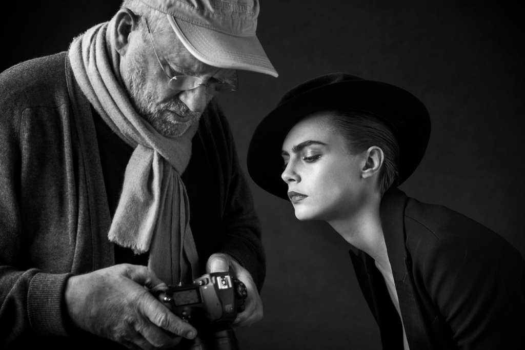 Peter Lindberg and Cara Delevingne behind the scenes of Douglas ad campaign.