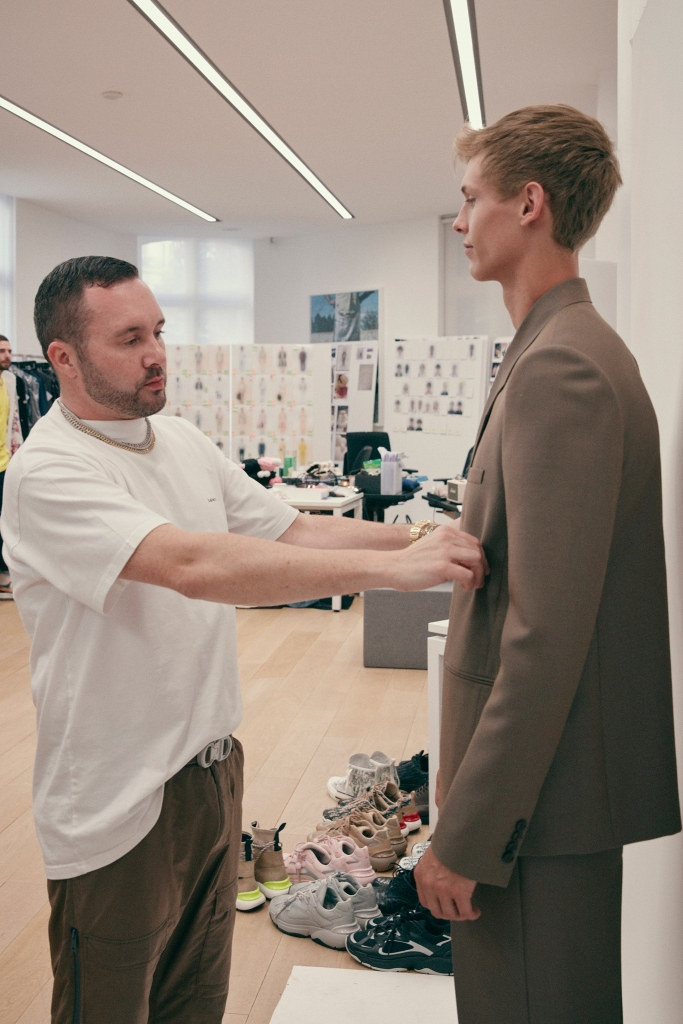 Kim Jones working on his debut collection for Dior Homme.