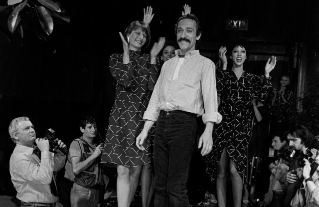 Dominick Avellino on the runway of his Fall 1980 D.D. Dominick Collection in New York