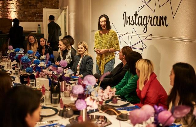 Instagram's head of fashion partnerships Eva Chen speaking at an Instagram business breakfast at Sydney's Beta Bar, June 14, 2018.